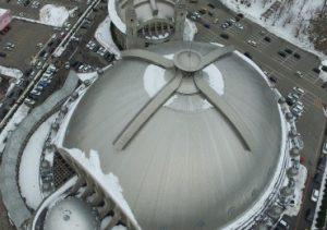 秋田ノーザンハピネッツ試合後の秋田市立体育館での空撮による交通調査